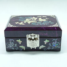 Purple jewelry box mother of pearl inlay and tortoise shaped metal latch
