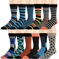 Men's Cotton Blend Dress Socks 12 Pairs of Assorted Patterns and Colors by ZEKE