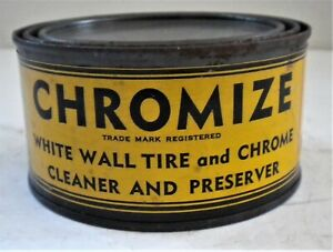 COOL OLD ONE POUND FULL CAN CHROMIZE WHITE WALL TIRE & CHROME CLEANER GARAGE ART