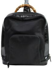e1c030aa42b9 Gucci Patent Bamboo Black Canvas Backpack 866938