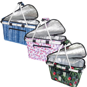 Sachi Insulated Collapsible Picnic Carry Basket with lid