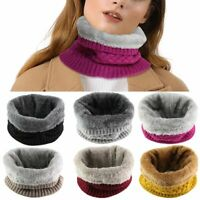 Women Winter Scarf Warm Infinity Cable Knitted Neck Cowl Collar Velvet Scarfs