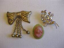 Lot 3 Vintage Pins Brooches Celluloid? Cameo, Austria AB Crystals, Bow w/ Dangle