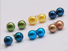 Wholesale 6 Pairs 7-8mm Multicolor Akoya Cultured Pearl 925 Silver Stud Earrings