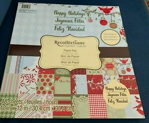 Recollections Signature Happy Holidays 12x12 Paper Pad 47 Sheets