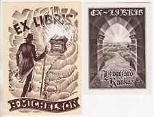 1923 ESTONIA Richard KIVIT Set 2 Graphic Original EX-LIBRISES Vintage BOOKPLATES