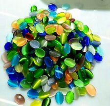 100pcs Beautiful Mixed colors oval Cat Eye stone CAB cabochon 14x10x3mm BC4521