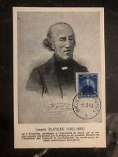 1949 Bruxelles Belgium Maxi Postcard Cover Joseph Plateau