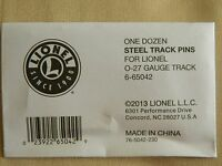 Lionel O-27 Steel Track Pins 12 Pack #6-65042 Ships FREE in the US