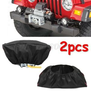 2pcs Waterproof 420D Winch Dust Cover For Driver Recovery 5000-13000 Capacity