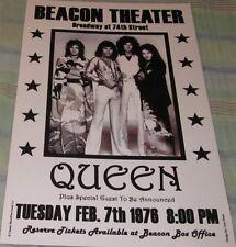 Queen Beacon Theater 1976 Replica Concert Poster W/Protective Sleeve