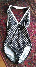 La Blanca by Rod Beattie Sz 8 One Pc Halter Swimsuit- Black&White Polka Dot
