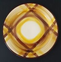 "Vernonware Organdie Bread Plate Yellow Brown Plaid 7 1/2"" Hand Painted USA"