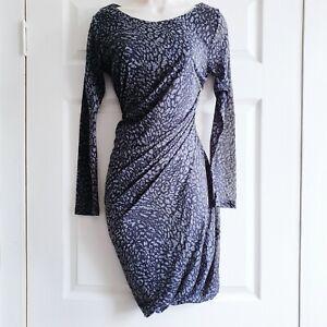 Mango Medium Grey Wiggle Dress Leopard Print Fitted Flattering Ruche Casual Work