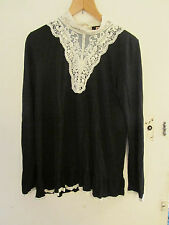 Lysgaard Black & Cream Lace Trim Long Sleeve Top in Size L / Size 14 - 16 - NWOT