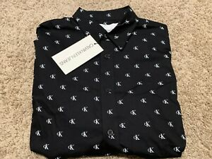 Calvin Klein Long Sleeve Mens Button Down Shirt Slim Fit Med NWT RT$79 mac U64