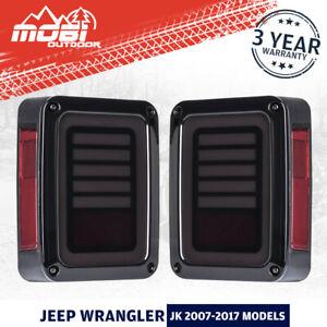 MOBI LED Tail Lights Reverse Indicator OEM Fit 2007-2017 Jeep Wrangler JK Smoked