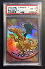 1999 Topps Pokemon T.V. Charizard #6 Rainbow Foil Blue Logo PSA 8