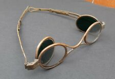 Antique 19th Century Folding Eyeglasses Spectacles Adjustable Brass Green Lenses