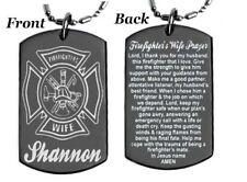 Personalized Firefighter'S Wife Prayer Dog tag Necklace or Key chain Free Engrav