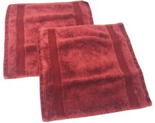 """2 TOMMY HILFIGER  Classic Solid Burgundy Red 100% Cotton 13"""" X 13"""" Wash Cloths"""