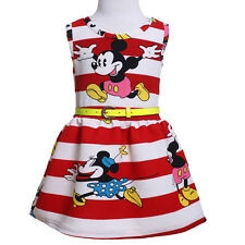 Toddler Baby Girls Minnie Mouse Dress Cartoon Kids Summer Vest Skirt Party Dress
