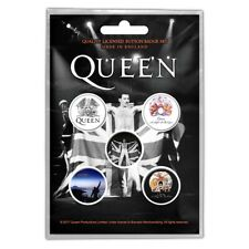 Official Merch 5-BADGE PACK Rock Metal Button Pin Badges QUEEN Freddie
