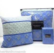 TOMMY HILFIGER BLUE TWIN COMFORTER 4pc SET EURO PILLOW Melrose AQUA WHITE FLORAL