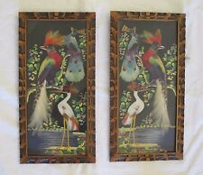 Lot 2 Vtg FEATHER PICTURE Peacock Bird of Paradise EXOTIC Heron WALL ART Paint