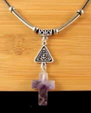 Amethyst Natural Gemstone Cross Necklace Pendant with Silver Tube Beads #587