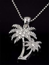 """New Palm Tree Austrian Crystal Silver Charm Pendant 24"""" Chain Necklace"""