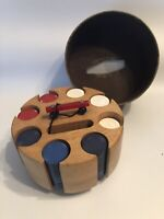 Vintage Wood Poker Chip Caddy Carousel Carry Case Red Bakelite Handle Lazy Susan