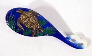 Hand Painted Art Hair Brush Brown Sea Turtle Design T005S