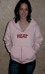 Miami Heat Hooded Sweatshirt Large Hoodie Pink Ladies NBA Womens Stitched Logos
