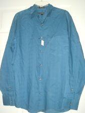 $85 NWT DKNY LOGO Dark Teal blue Longsleeves Dress shirt DONNA KAREN NEW YORK L