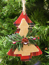WOOD CHRISTMAS TREE w/PINE BRANCH & PINE CONE & HOLLY BERRIES CHRISTMAS ORNAMENT