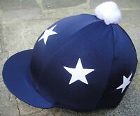Riding Hat Silk Skull cap Cover  NAVY BLUE * WHITE STARS With OR w/o Pompom