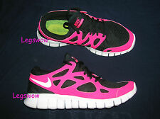 Nike Free Run + 2 Running Shoes Sneakers Black Pink Womens 9.5 Ipod Gym Tennis