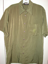 Versace Jeans Couture  Mens Small  Embroidered Medusa Green Silk /Mint