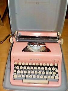 Vintage 1956 Flamingo Pink Royal Quiet Deluxe Typewriter w/Original Case