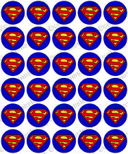 30 X Superman Logo Comestibles De Arroz Oblea papel Cupcake Toppers