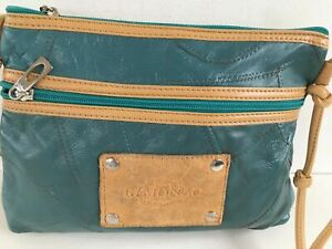 WOMENS R MONZO GREEN LIGHT TAN SHOULDER BAG  CROSSBODY MESSENGER HANDBAG PURSE
