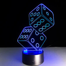 2 Dice 3D Acrylic Colorful Lamp Bedroom Night Light Gifts for Friends Poker Fan