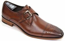Mens Stacy Adams Kimball Cap Toe Monk Strap Shoe Chestnut or Saddle Tan 25110
