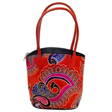 Leather Handmade Tote Bag Indian SHANTINIKETAN Purse SHOPPER Paisley BANJARA