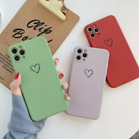 Square Silicone Heart Soft Case Cover For iPhone 11 12 Pro Max Mini XS XR X 8 7