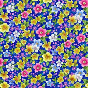 Fabric Flowers Petunias Epic on Royal Blue STUDIO -E 1/4 Yard