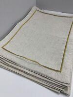 "Beige Placemats Linen Gold Trim 13""x18.5"" Set Of 9 Unbranded"