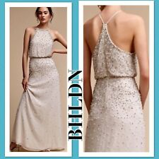 26c3b4eb153 New BHLDN Ivory RIAN Pearl Allover Beads Chiffon Halter 2 4 6 10 12 14 16