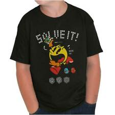 Pac-Man Rubiks Cube Vintage 80s Solve It Game Youth T-Shirt Tees Tshirt For Kids